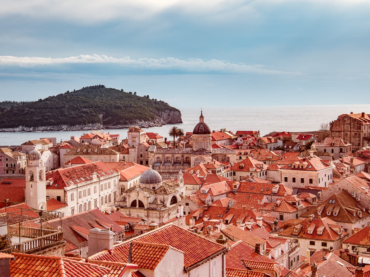 The red roofs of Dubrovnik, Croatia as viewed from the medieval city walls.