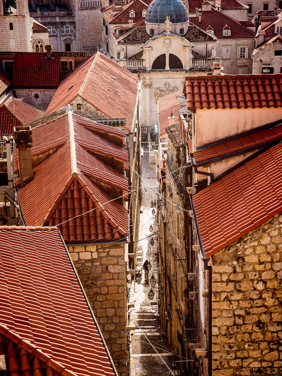 One of the steep stairways in the alleyways of Dubrovnik Croatia.