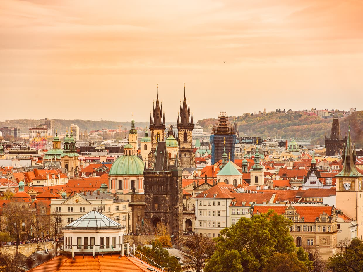 Petrin Park has a great view of the Prague Old Town.