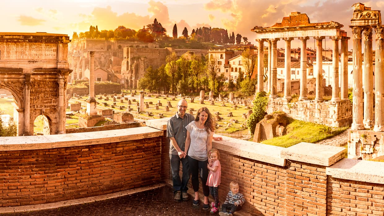 The Baby Can Travel Family at the Roman Forum in Rome, Italy.