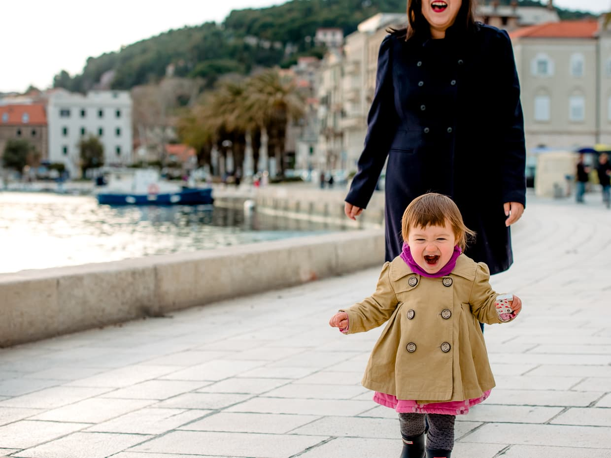 Having fun by the Split Harbor during our February in Croatia.