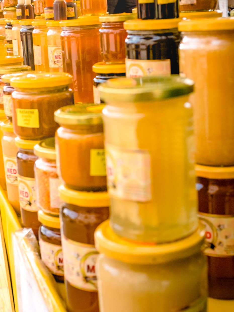 Honey for sale at the Split, Croatia green market.
