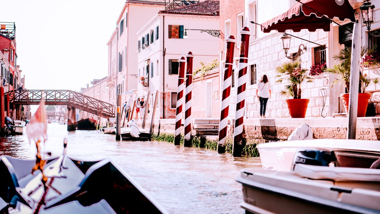 A gondola's eye view of a Venice canal.