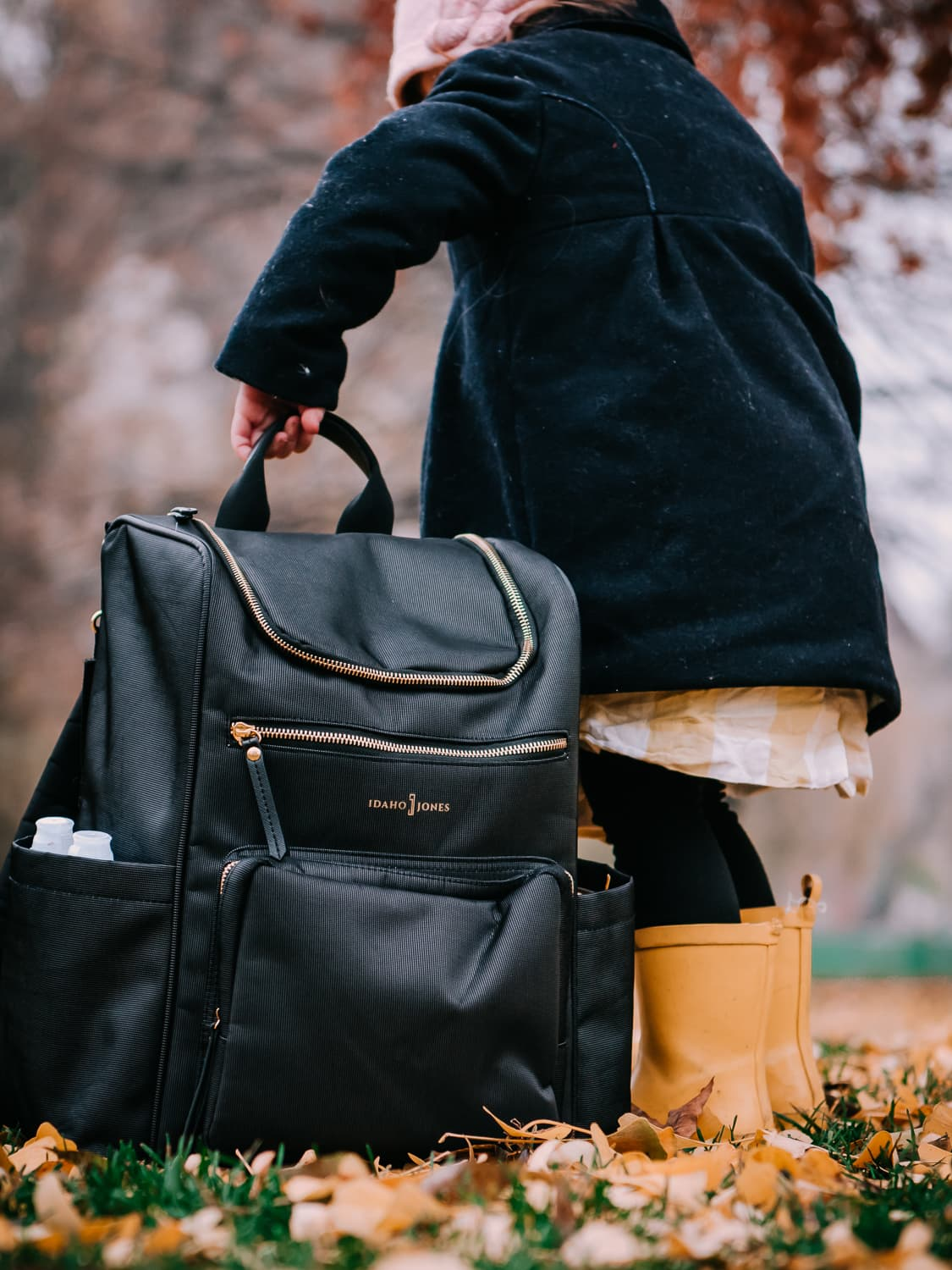 Our lightweight diaper bag, the Idaho Jones Gallivant.