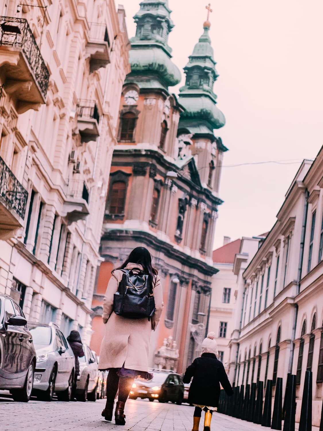 Exploring Budapest with our Idaho Jones Diaper Backpack.