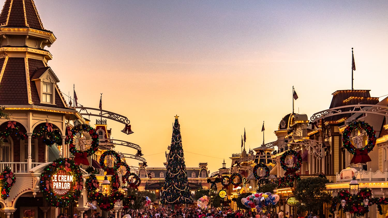 Christmas time on Mainstreet USA at Disney's Magic Kingdom in Orlando, Florida.