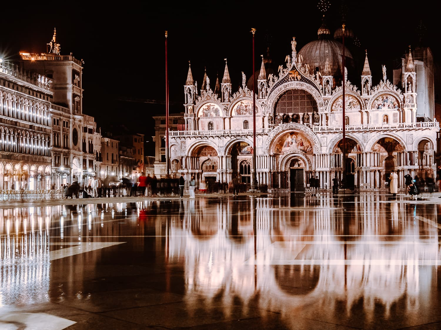 Acqua Alta (high water) in front of Basilica San Marco in Venice, Italy's Piazza San Marco.