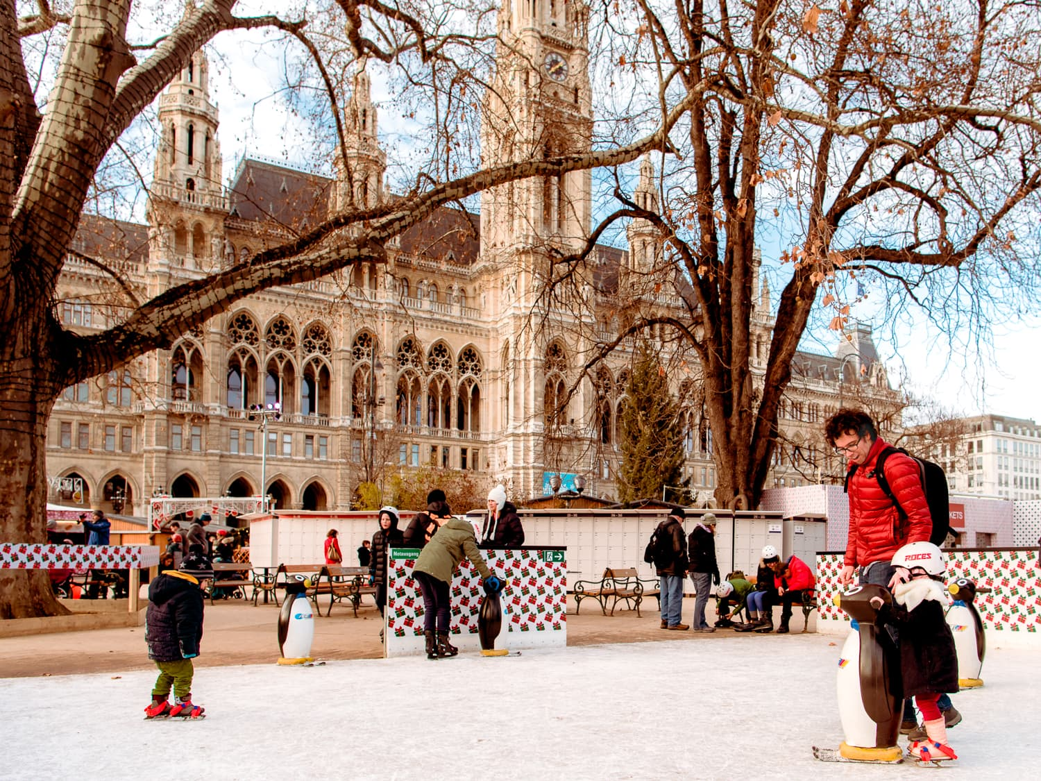 Ice skating in Vienna, Austria at Wiener Eistraum in front of Rathaus.