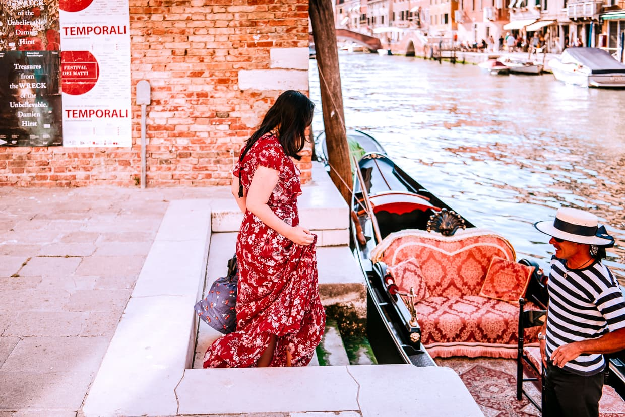 Preparing to board a gondola in Venice, Italy.