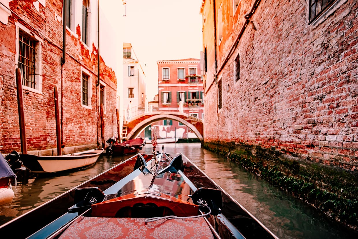 Venice, Italy photographed from inside a gondola.