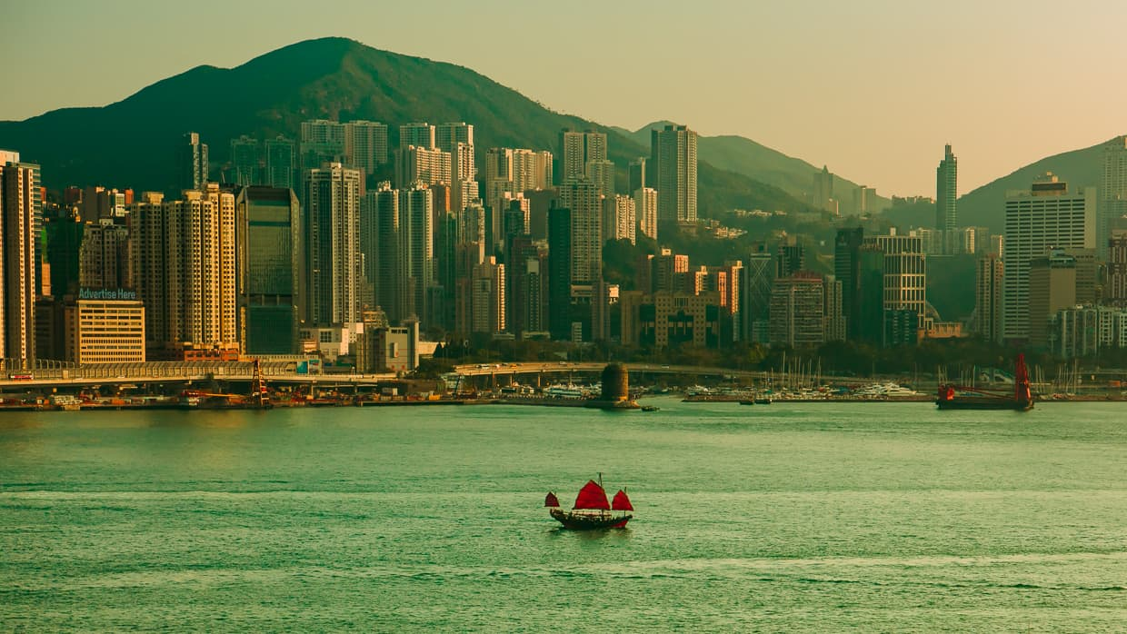 A Hong Kong Dragon Boat sailing in Victoria Harbour.