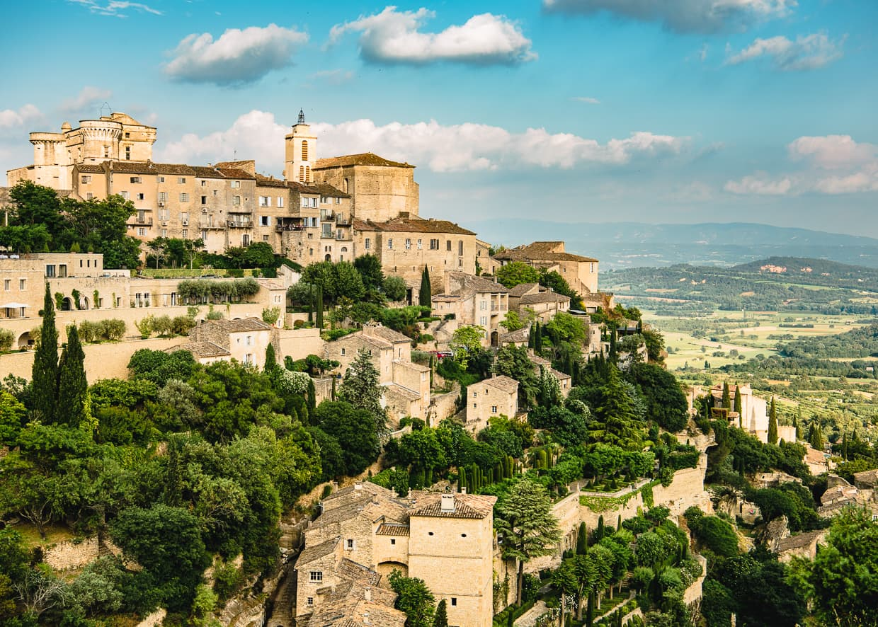 The cliffside city of Gordes, France in the Provence region.