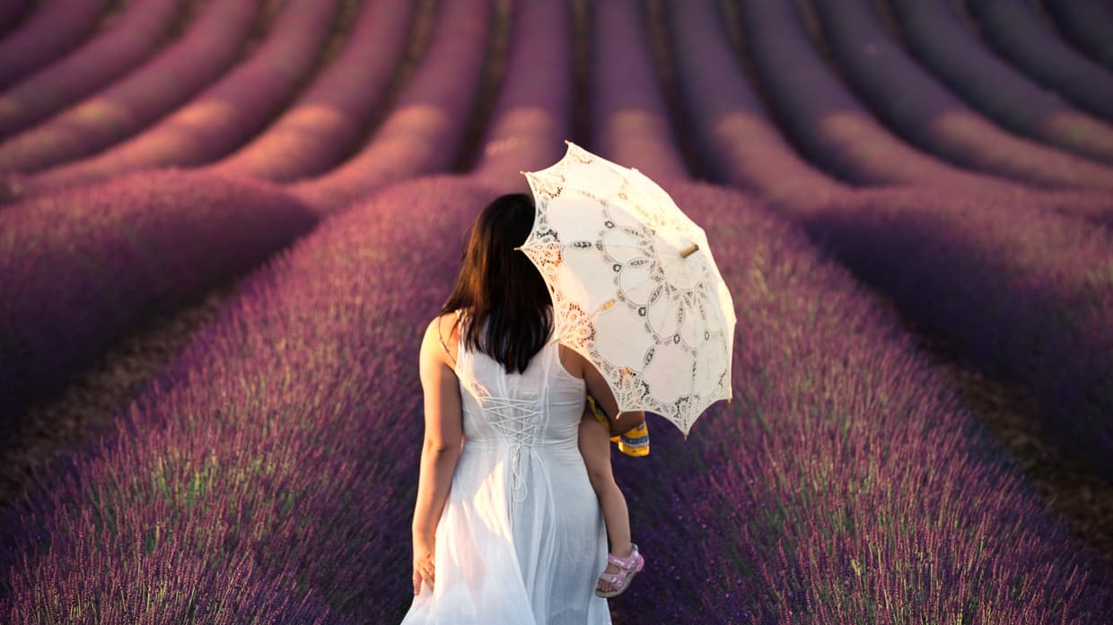 Walking in a Provence lavender field with a white dress and parasol.