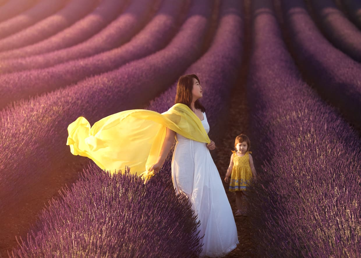 Walking through a lavender field with a splash of yellow and white.