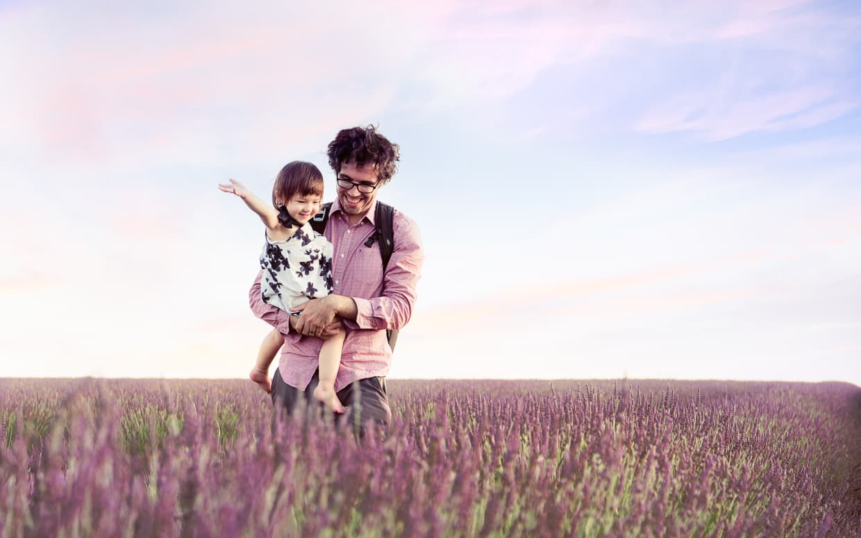 Jake carrying Lisa through a field of Lavender in Provence, France.