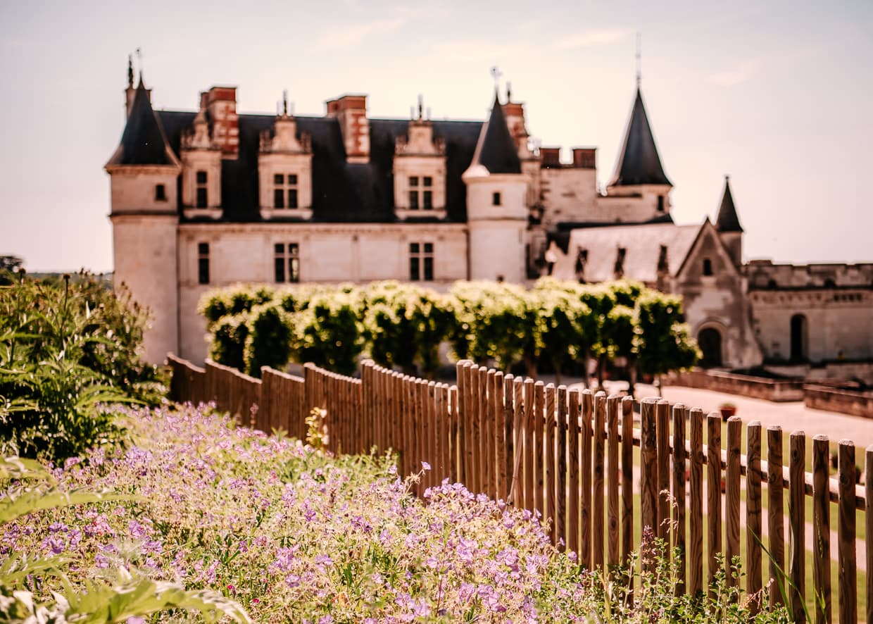 Chateau Royale d'Amboise with flowers and a fence in the foreground.