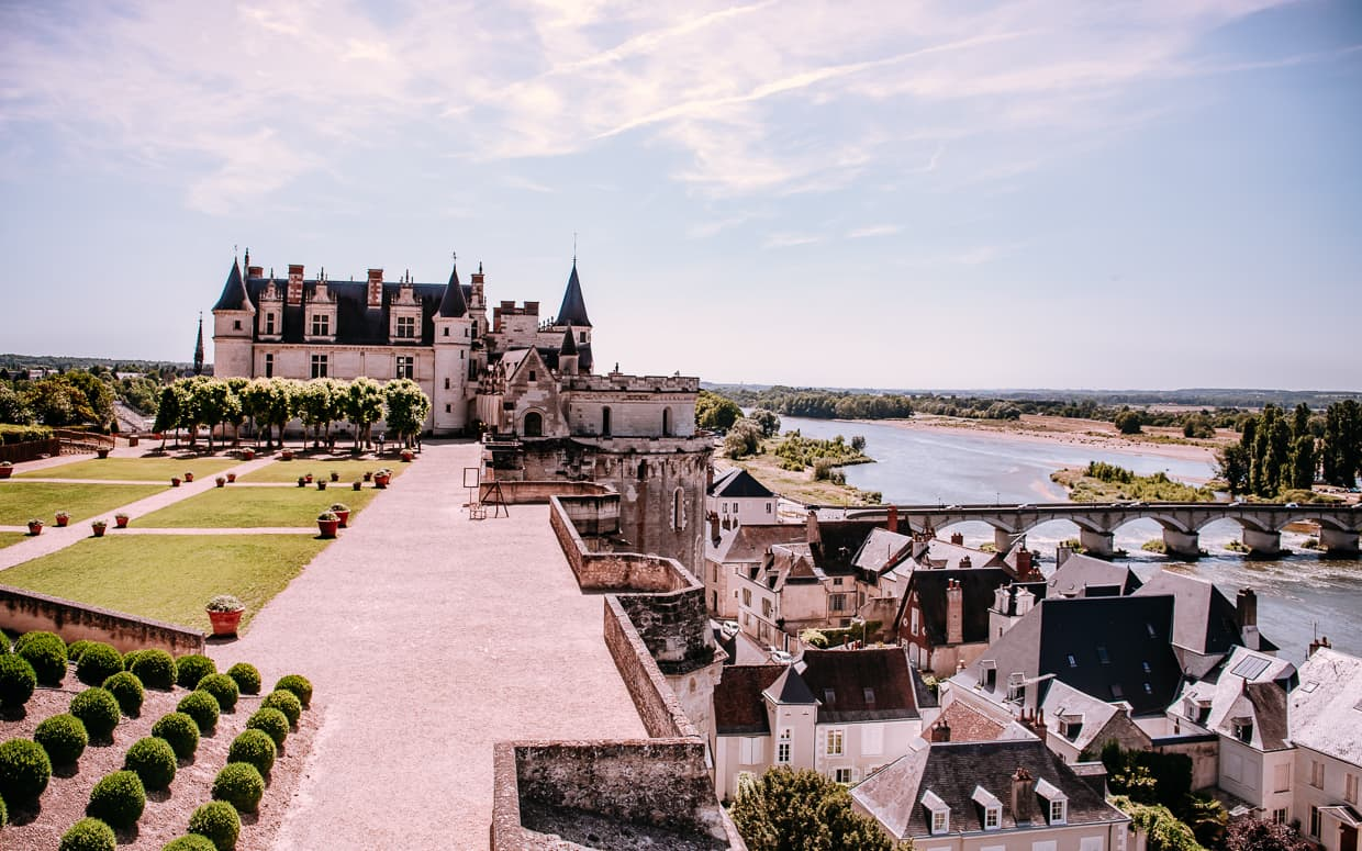 The chateau royale d'Amboise, overlooking the town of Amboise, France and the Loire River.