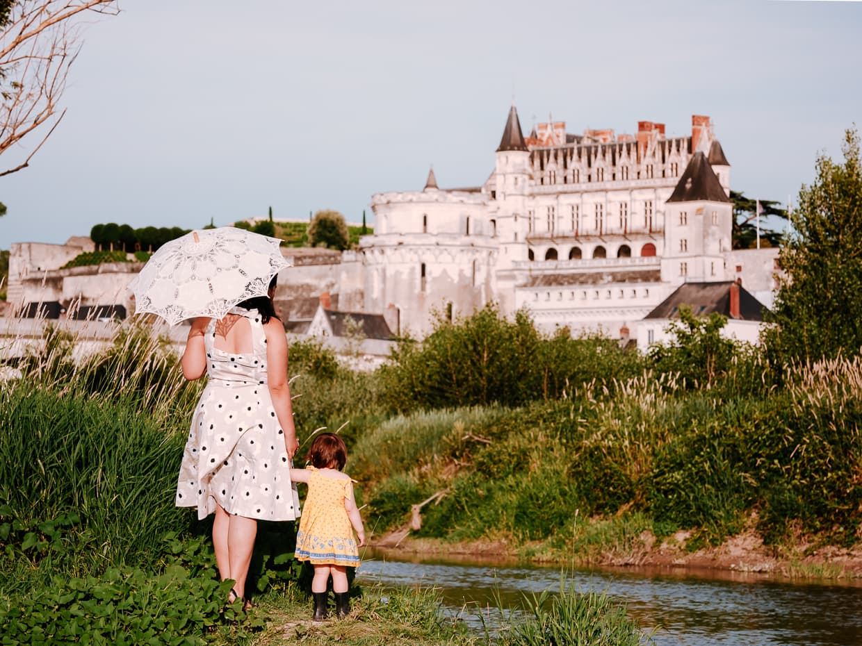 Viewing the Chateau Royale d'Amboise from the Ile d'Or in Amboise, France.