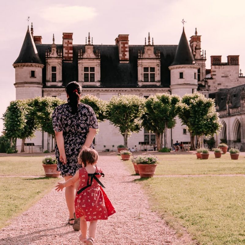 Walking toward the Chateau Royale d'Amboise in the castle gardens.