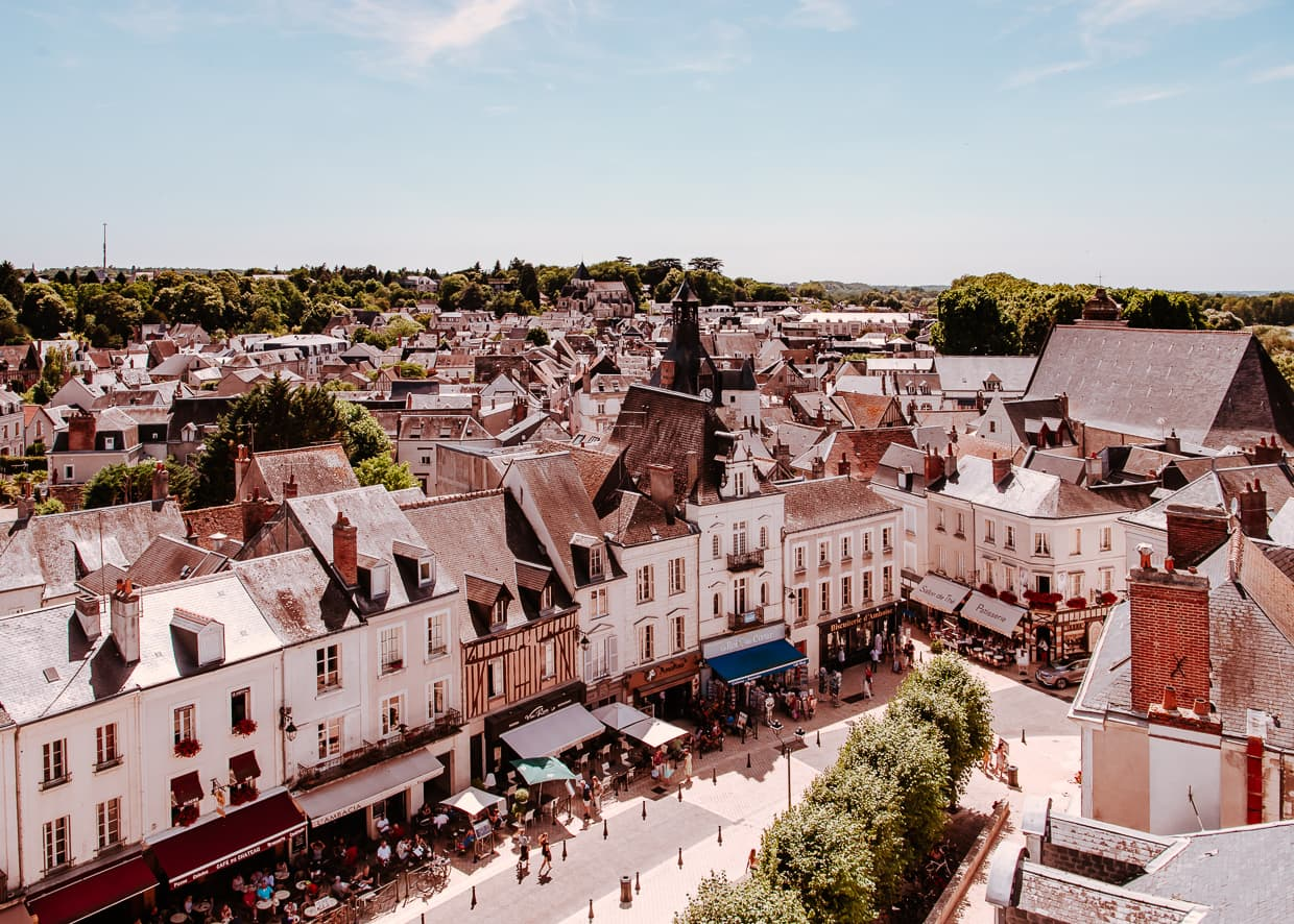 A busy shopping street viewed from the castle in Amboise, France.