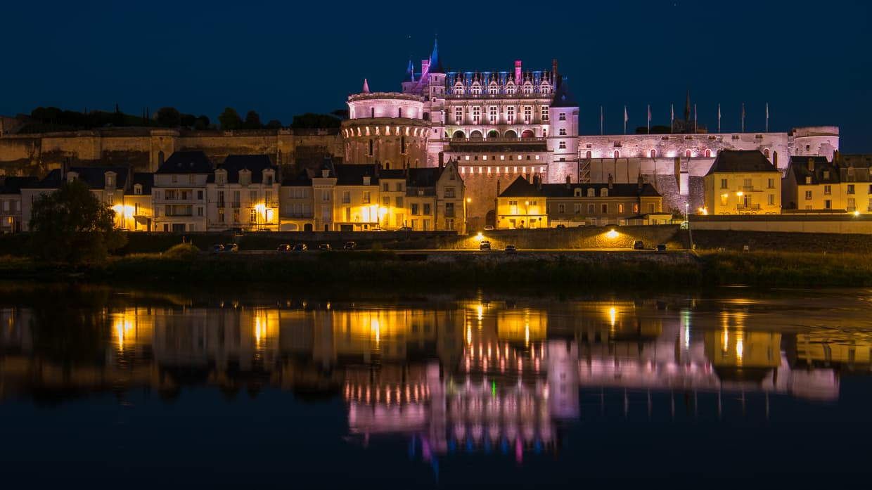 The Chateau d'Amboise at night with it's reflection on the Loire.