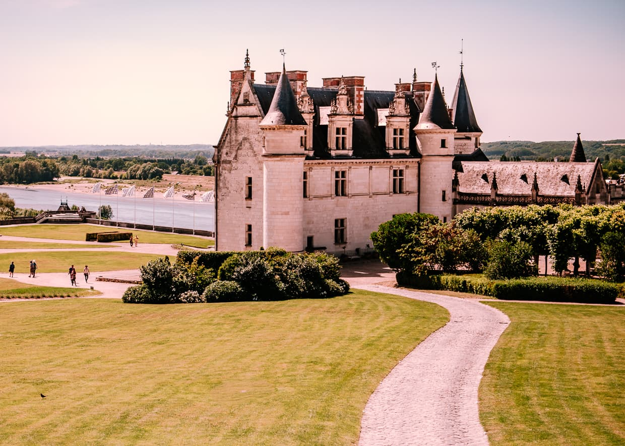 The Chateau de Amboise in front of the the Loire River in France.