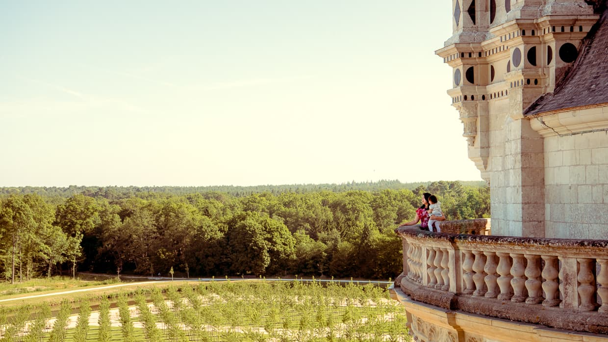 On the Balcony of the Loire Valley's Chateau de Chambord, looking out over the gardens.