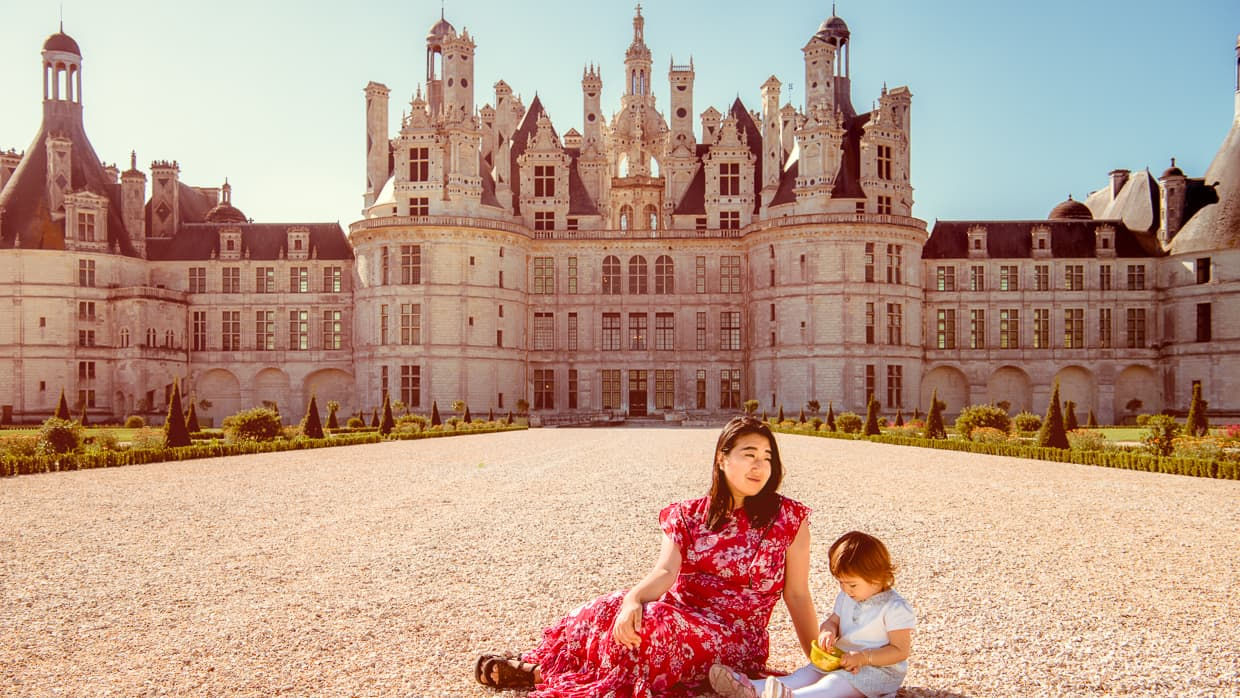 Relaxing in the Loire Valley front of the Chateau de Chambord.