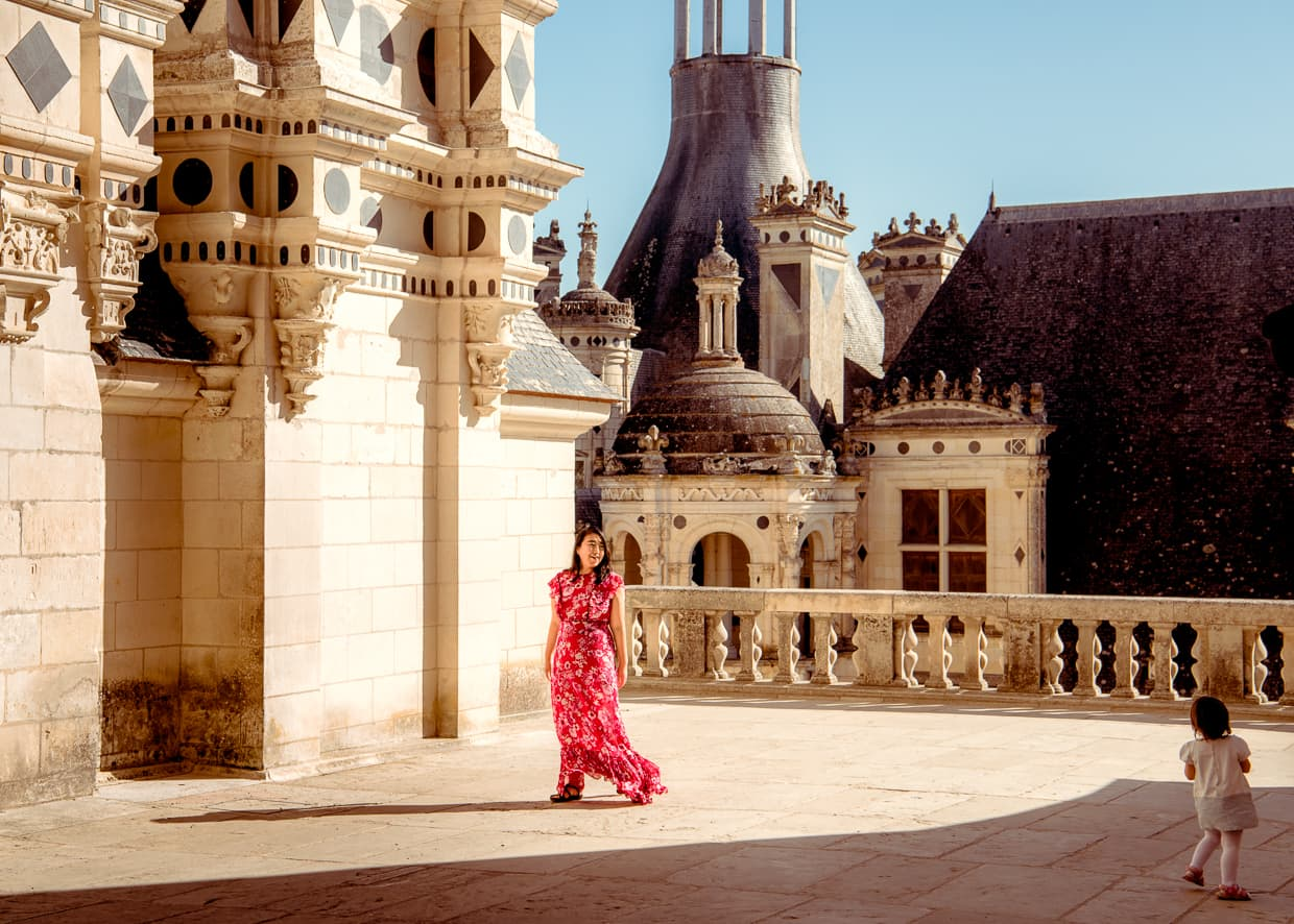 Dannie and Lisa playing on the rooftop of Chateau de Chambord in France's Loire Valley.