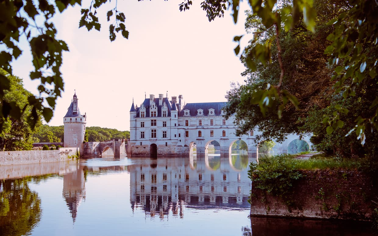The Chateau de Chenonceau over the River Cher in the Loire Valley, France.