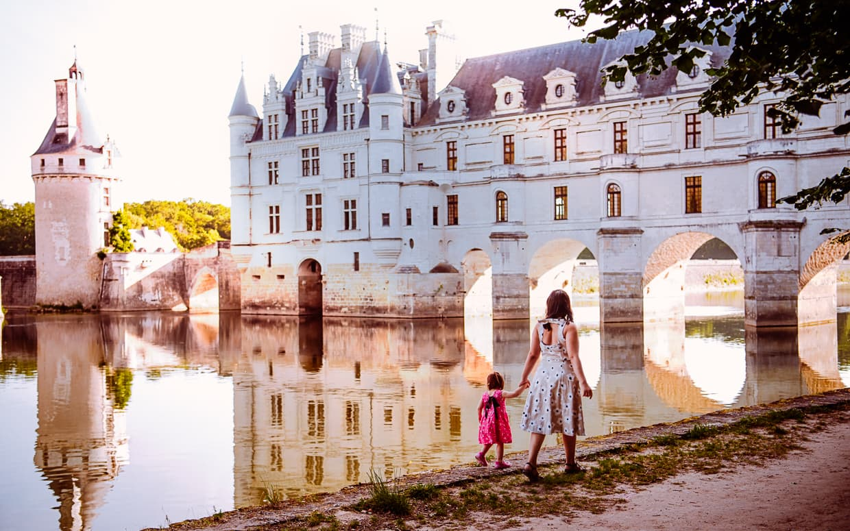 Walking along the River Cher with Chenonceau in the Background.