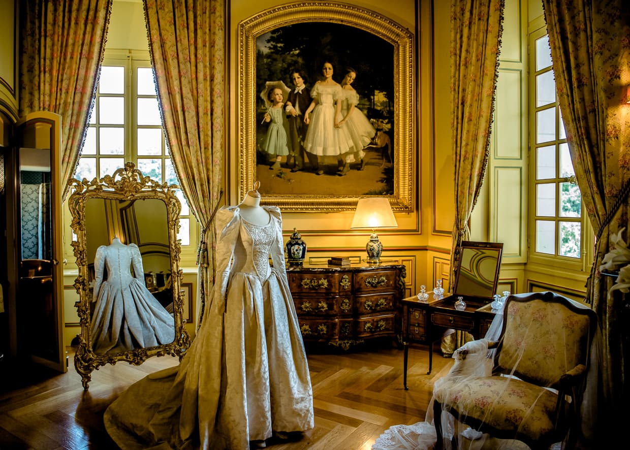 A dressing room in the interior of the Chateau de Cheverny in France.