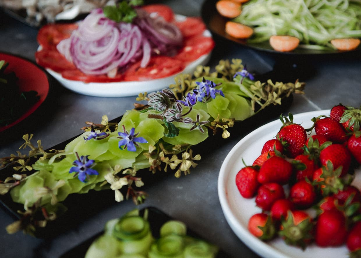 Very pretty salads we made during our baking class.
