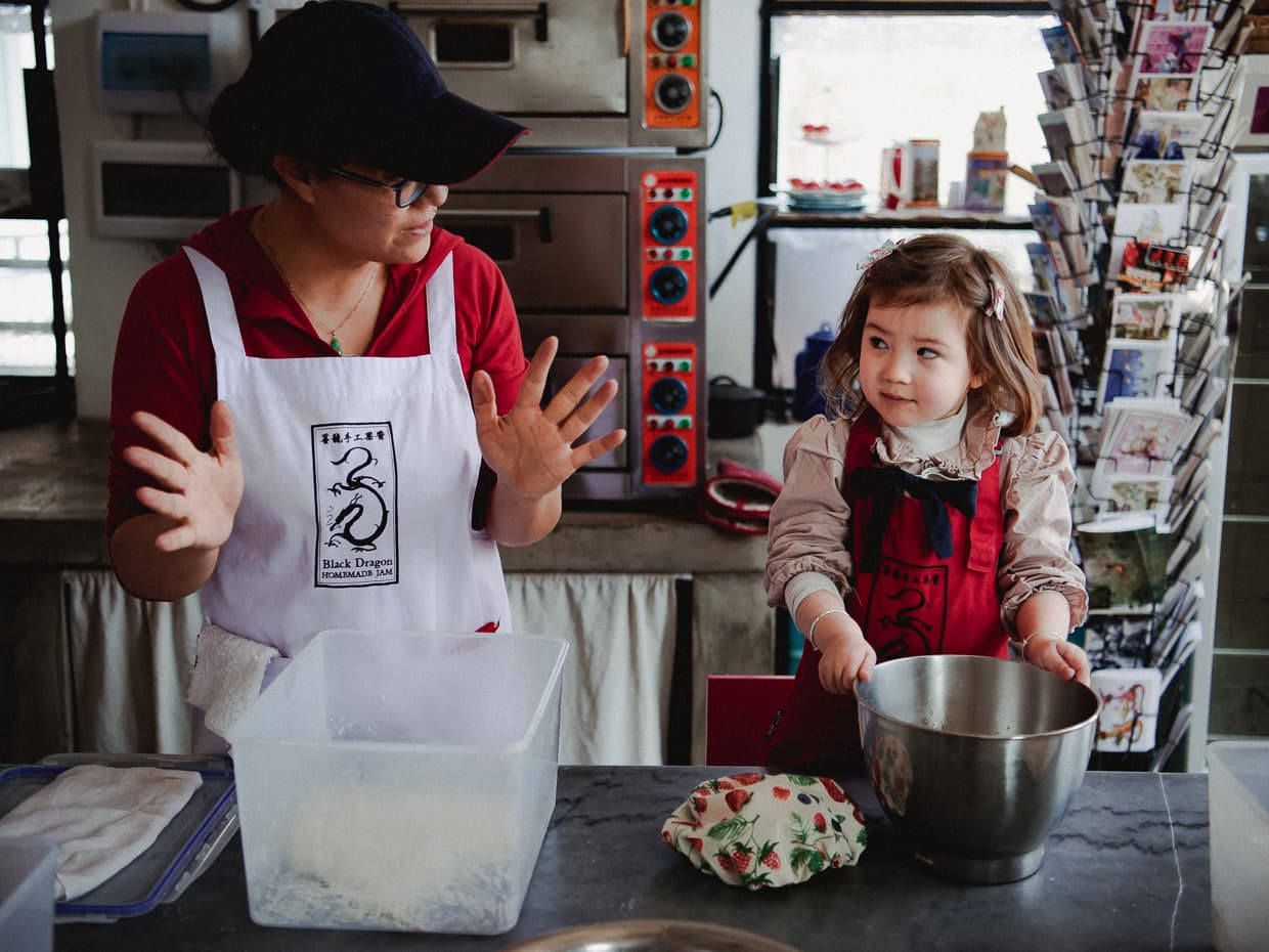 Learning how to bake in Dali, China's Black Dragon Cafe.