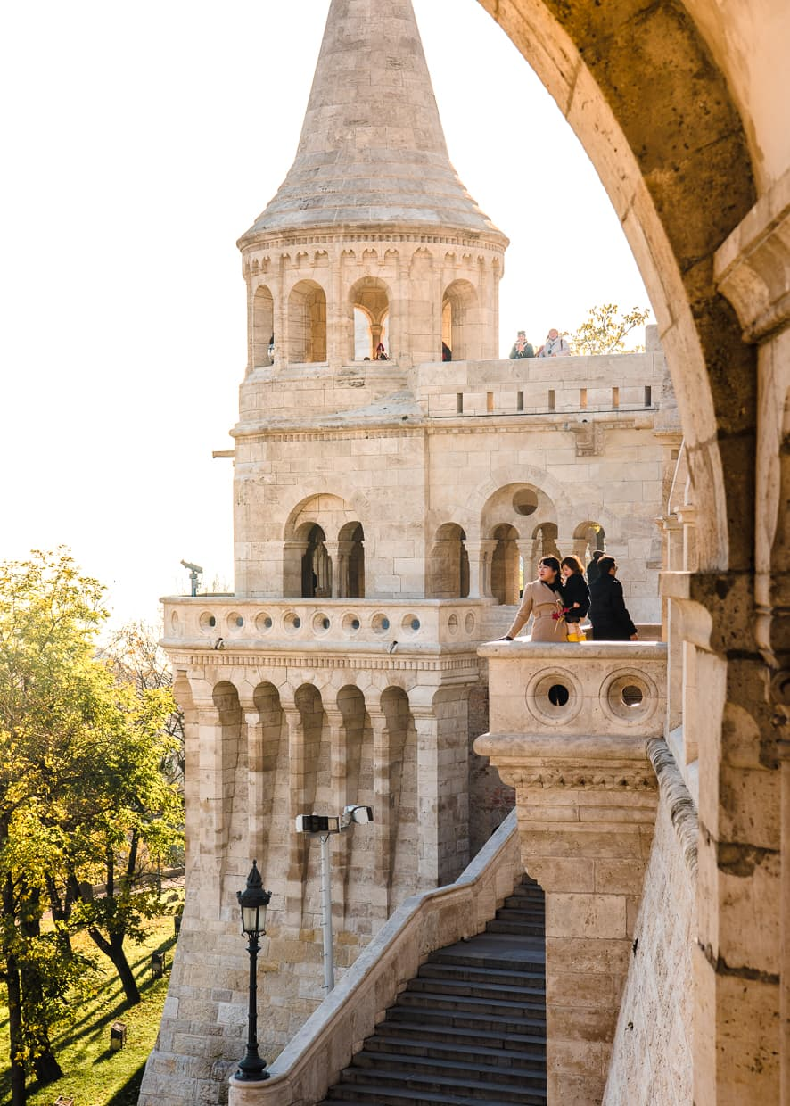 Posing on a balcony at the Fisherman's Bastion.