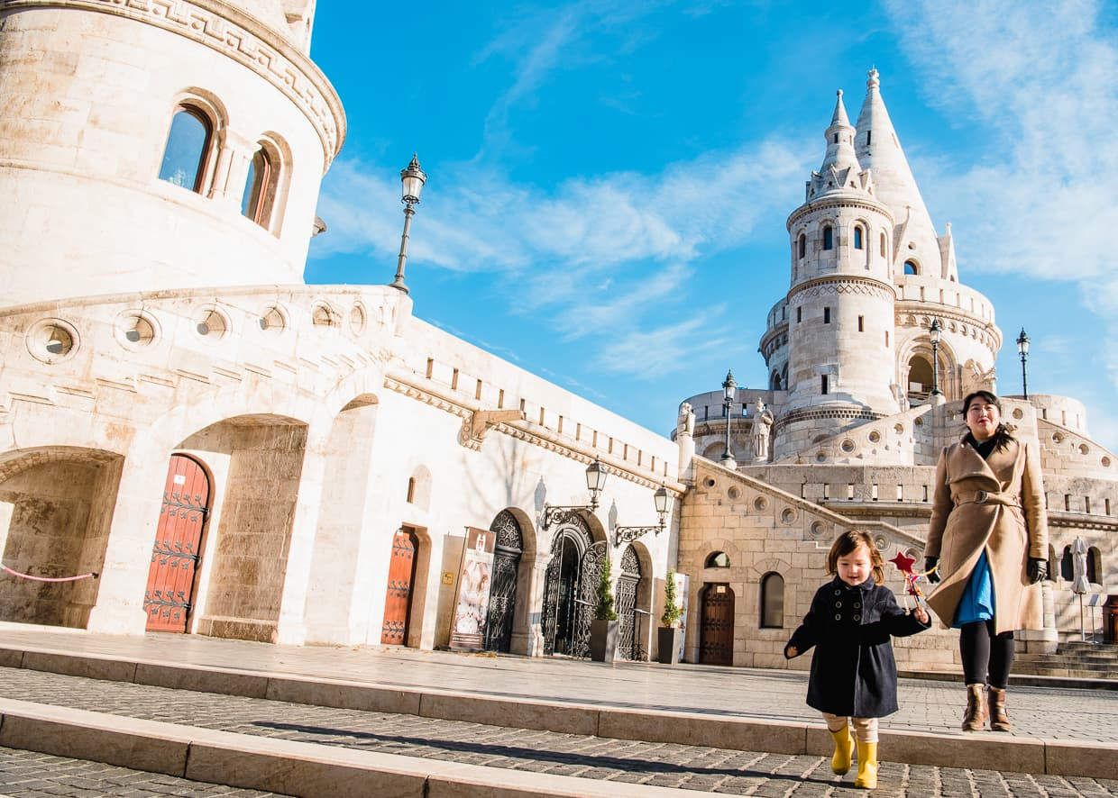 Exploring Budapest, Hungary at the Fisherman's Bastion.