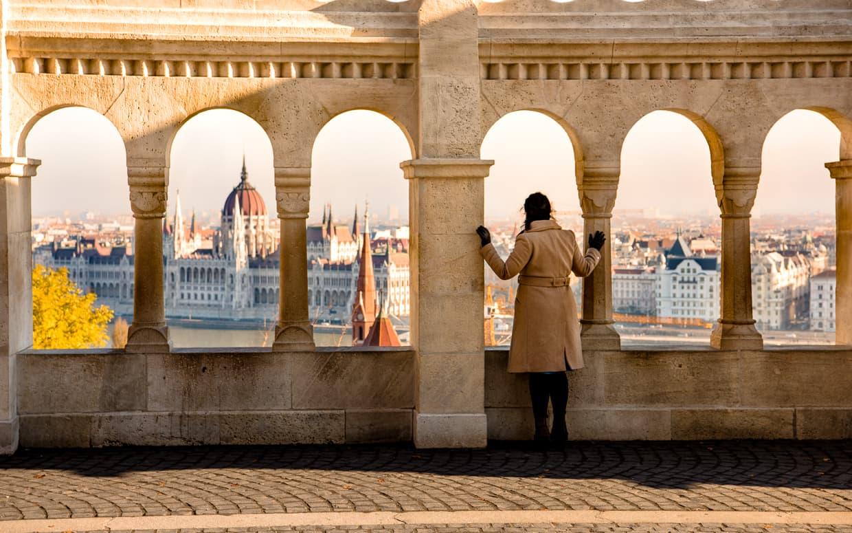 The view from the Fisherman's Bastion. The Hungarian Parliament Building is in the Background.