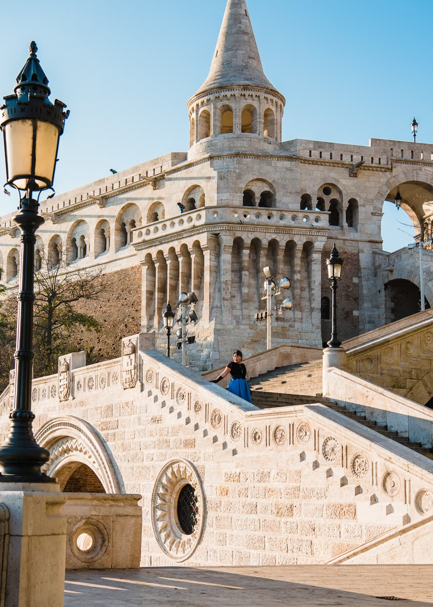 The stairs in front of the Fisherman's Bastion.
