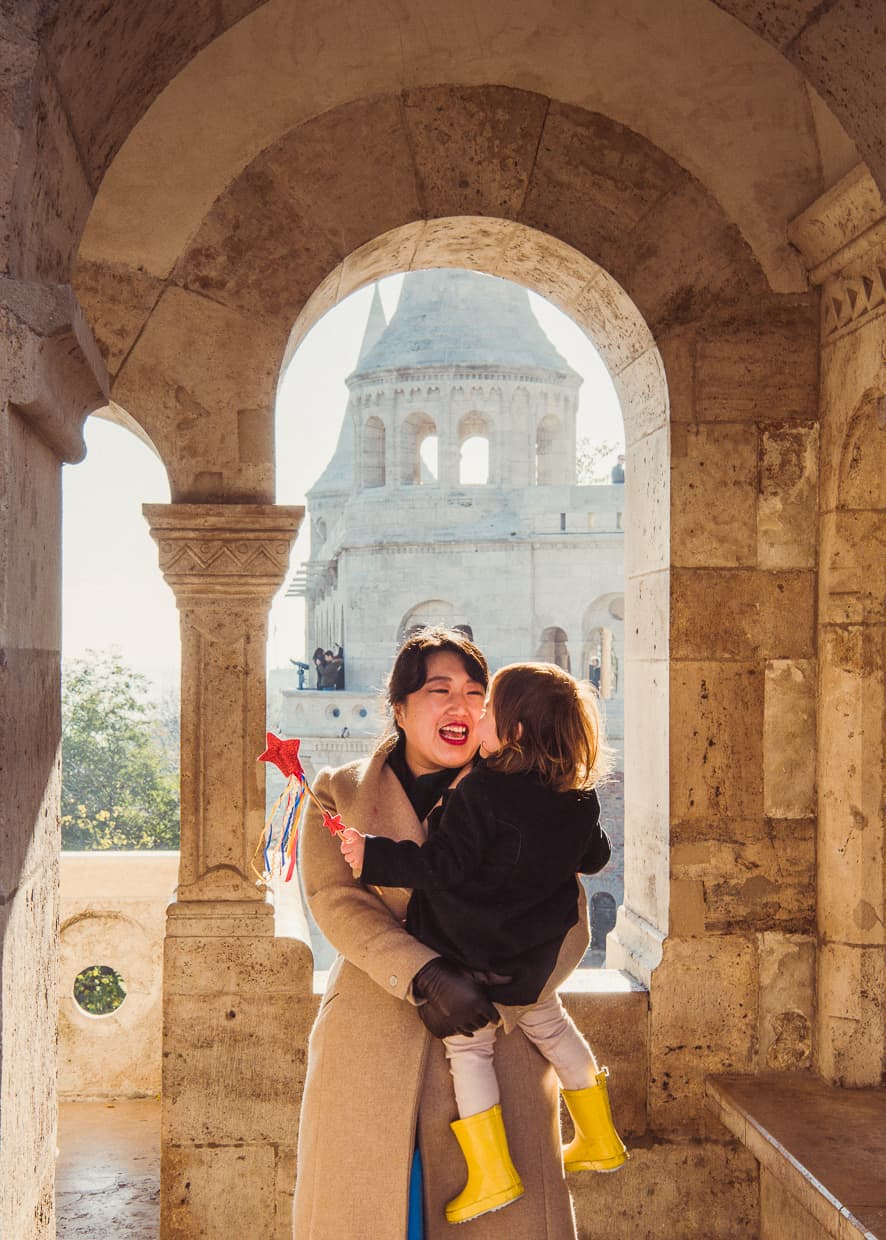 Goofing around during our November trip to the Fisherman's Bastion.