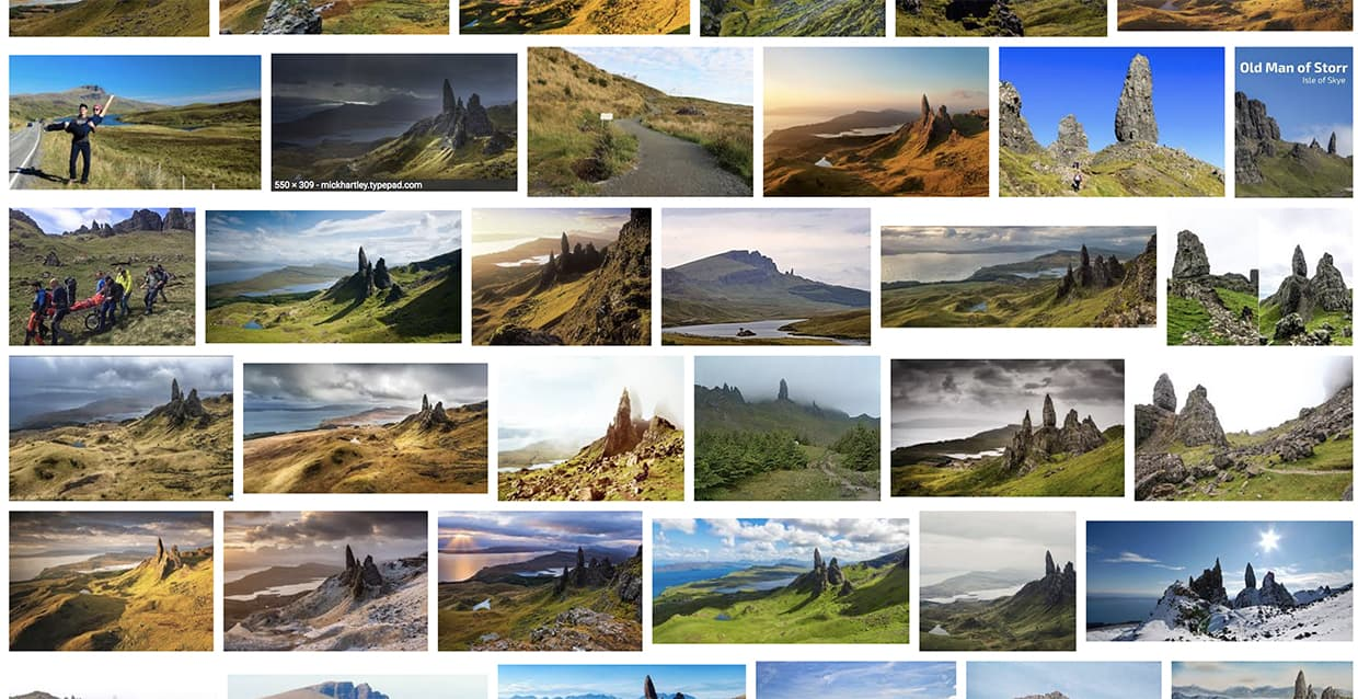 The Google Image results for the Old Man of Storr