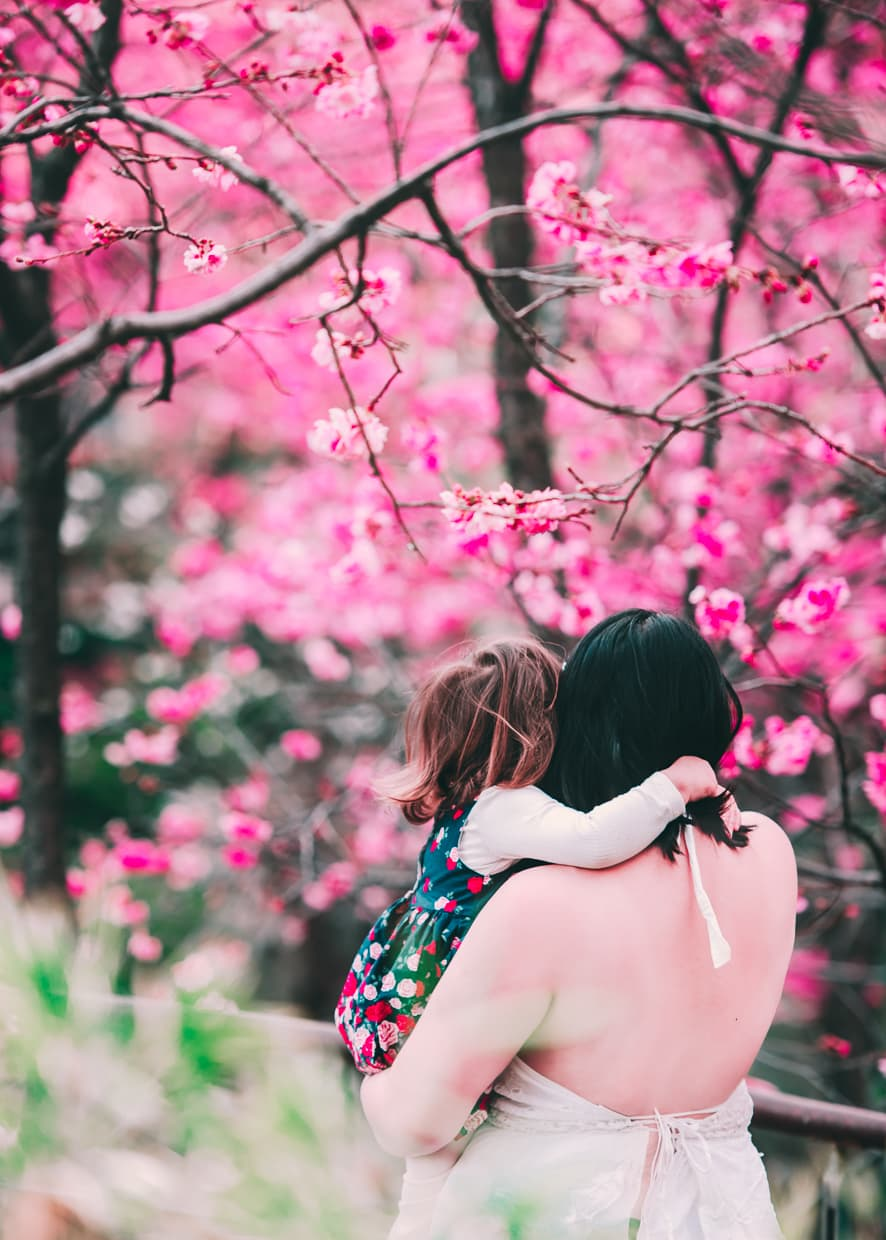 A big hug under cherry blossom trees in Dali, China.