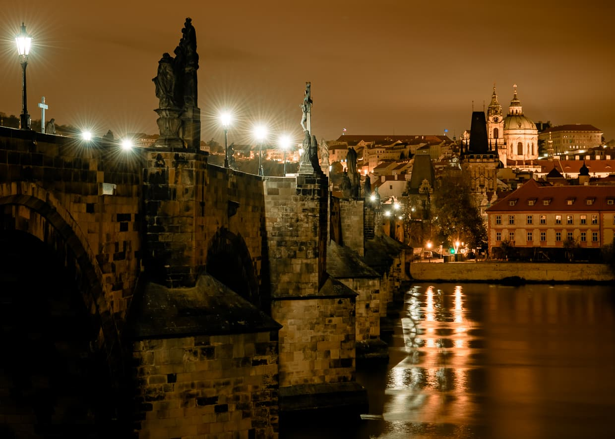 The Charles Bridge at night in Prague, Czech Republic.