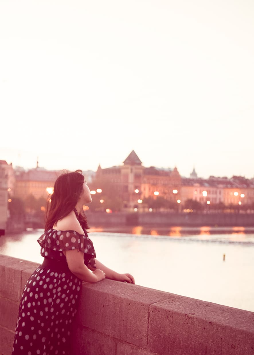Looking out over the river from Prague's Charles Bridge.