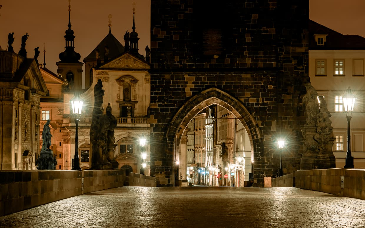 The Charles Bridge tower in Prague, Czech Republic.
