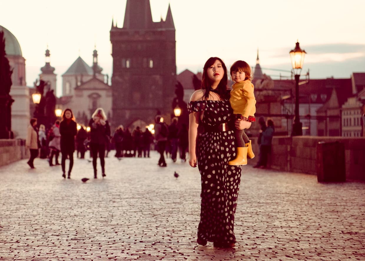 Tourists on the Charles Bridge in Prague, Czech Republic.