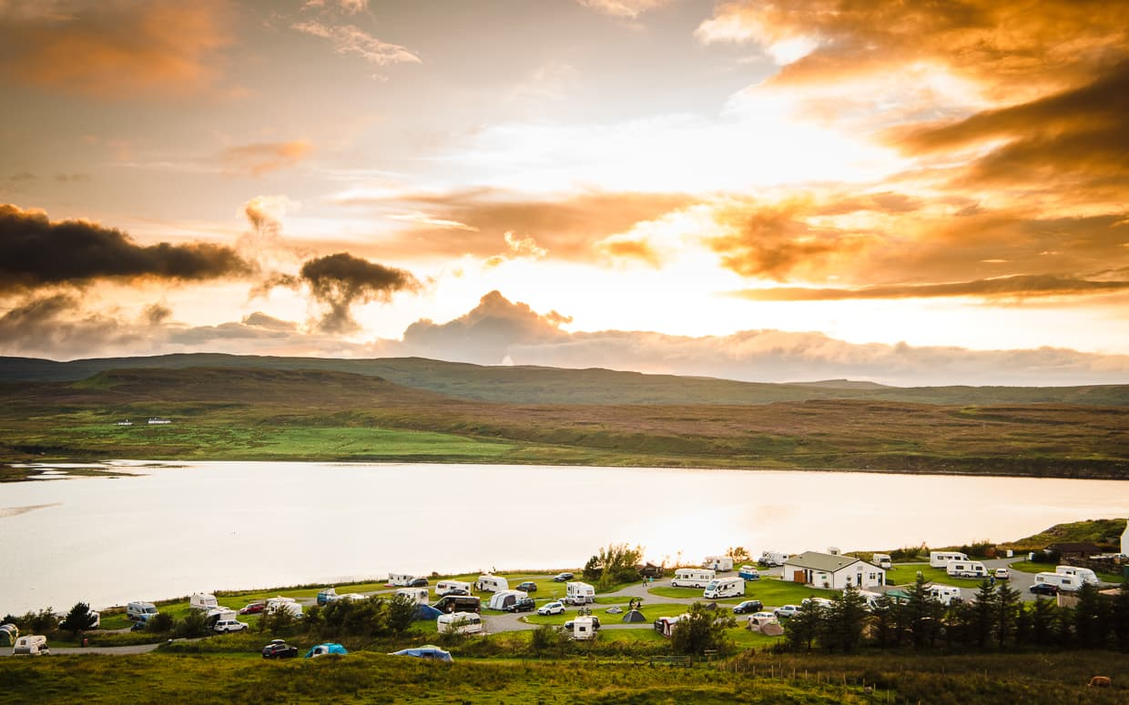 The Isle of Skye Camping and Caravanning Club Site at Sunset.