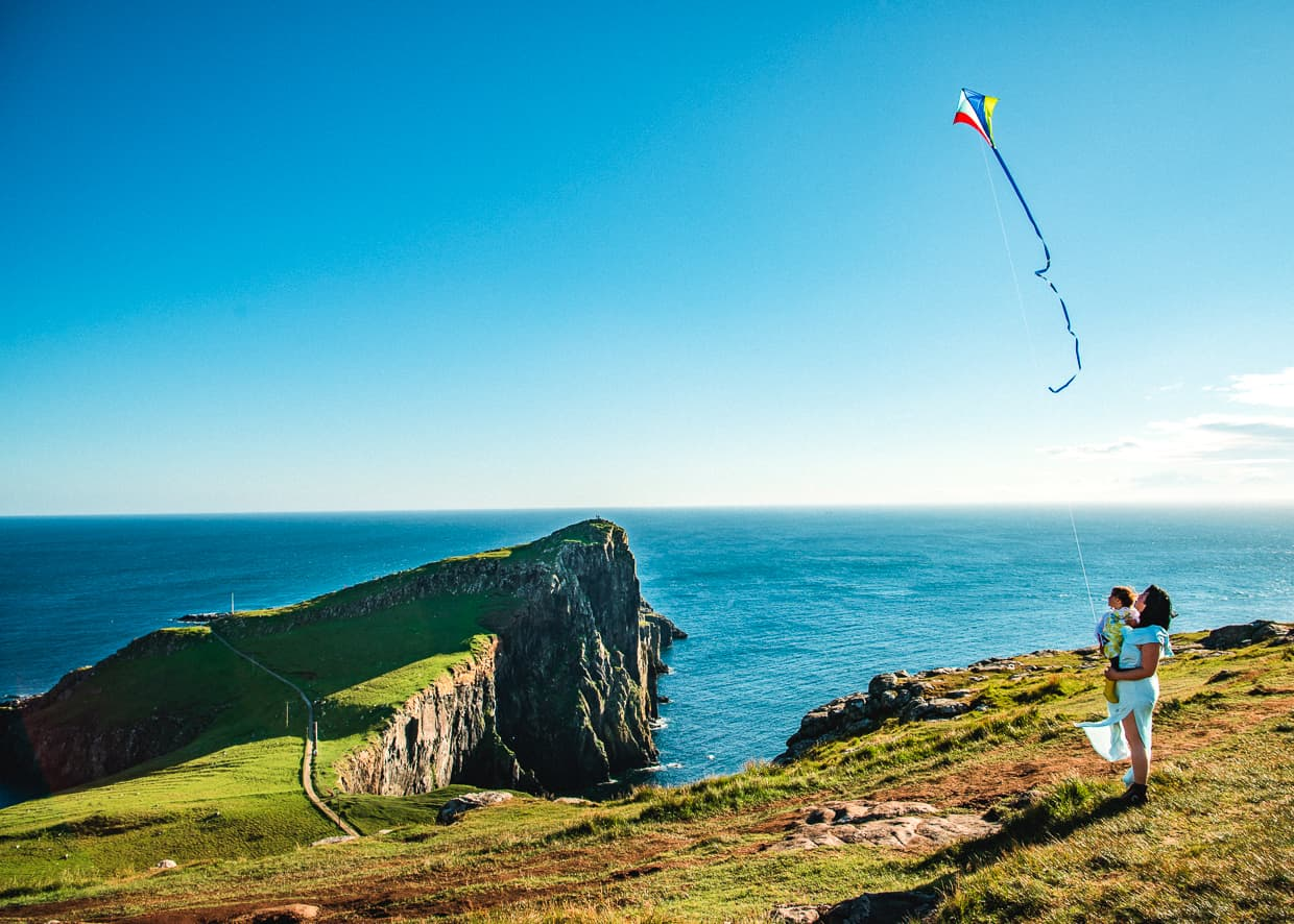Flying a kite by Neist Point on the Isle of Skye, Scotland.