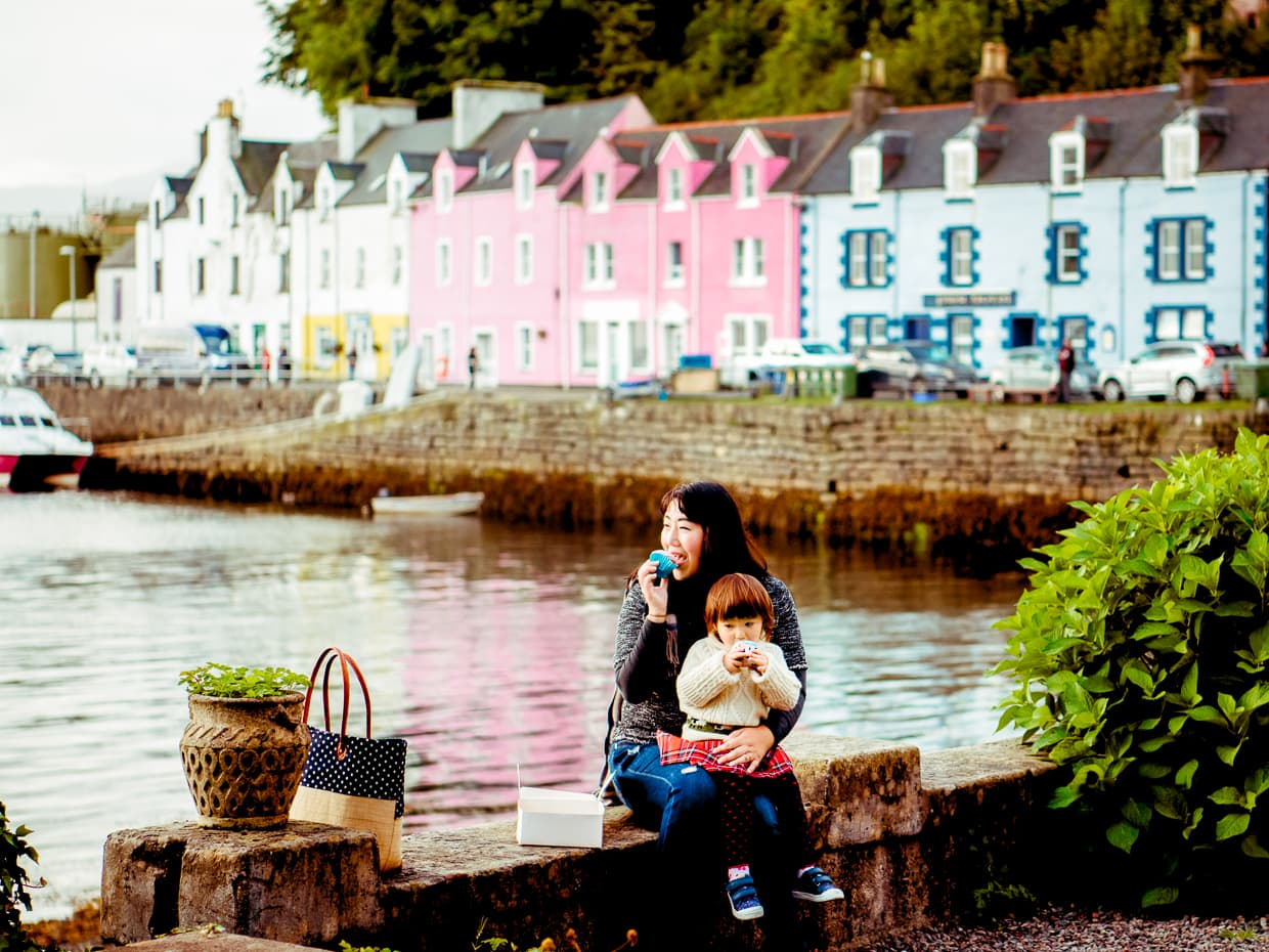 A picnic in Portree on the Isle of Skye during our Camping Trip.