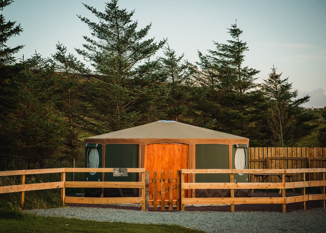 One of the glamping tents at the Isle of Skye Camping and Caravanning Club Site in Scotland.