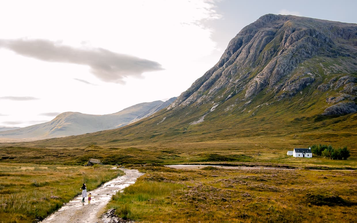 A mountain road in Glencoe, Scotland.
